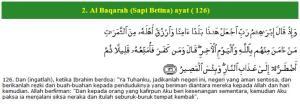 Al Qur'an surat Al Baqarah (Sapi Betina) (126 )