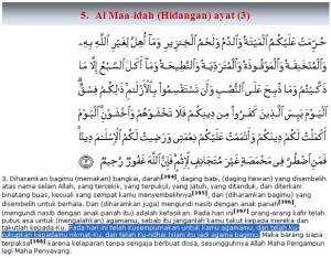 Al Qur'an surat Al MAaa'idah (Hidangan) ayat (3)